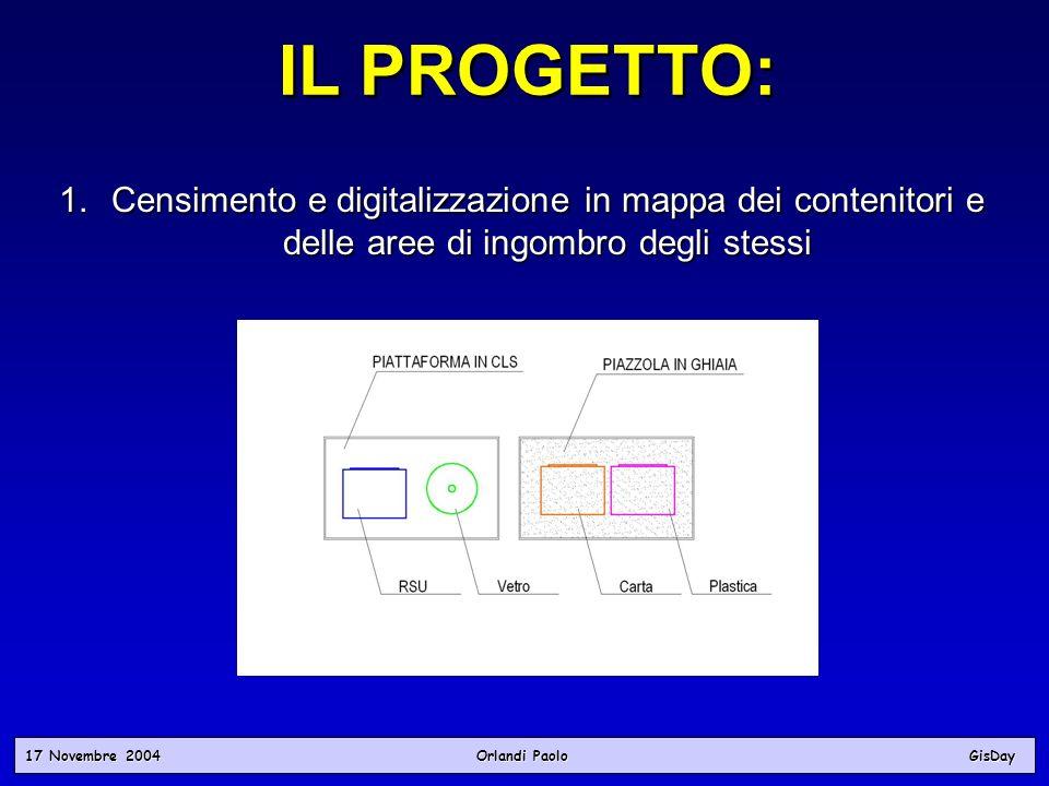 17 Novembre 2004 Orlandi PaoloGisDay IL PROGETTO: 1.Censimento e digitalizzazione in mappa dei contenitori e delle aree di ingombro degli stessi
