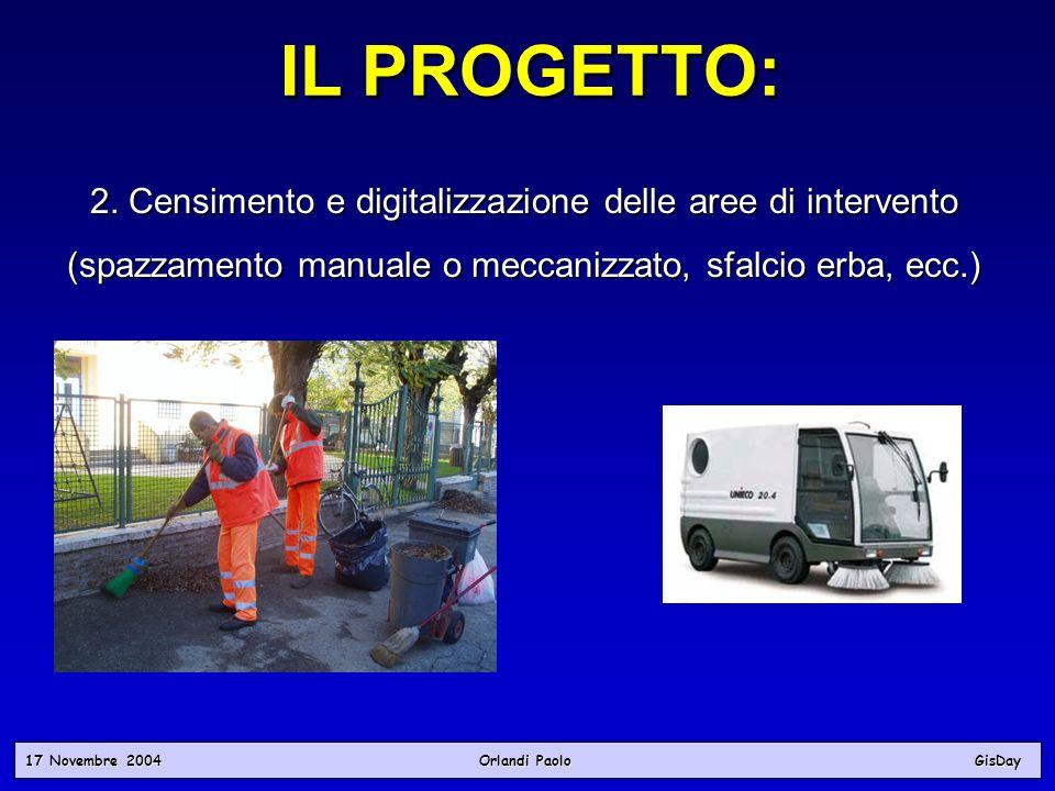 17 Novembre 2004 Orlandi PaoloGisDay IL PROGETTO: 2. Censimento e digitalizzazione delle aree di intervento (spazzamento manuale o meccanizzato, sfalc