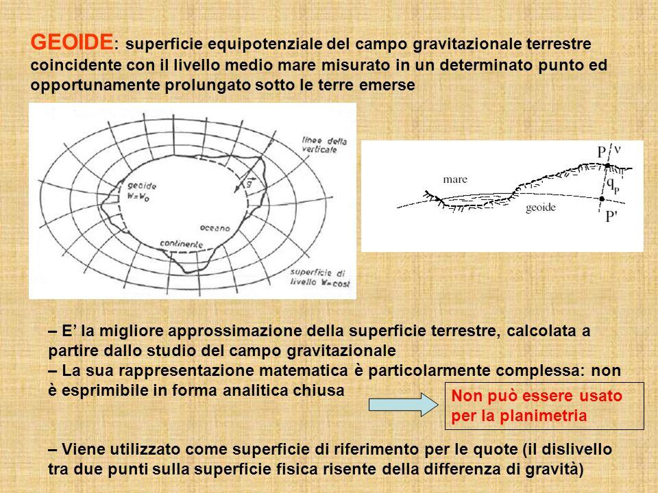 GEOIDE : superficie equipotenziale del campo gravitazionale terrestre coincidente con il livello medio mare misurato in un determinato punto ed opportunamente prolungato sotto le terre emerse – E la migliore approssimazione della superficie terrestre, calcolata a partire dallo studio del campo gravitazionale – La sua rappresentazione matematica è particolarmente complessa: non è esprimibile in forma analitica chiusa – Viene utilizzato come superficie di riferimento per le quote (il dislivello tra due punti sulla superficie fisica risente della differenza di gravità) Non può essere usato per la planimetria