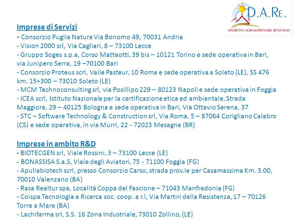 Imprese di Servizi - Consorzio Puglia Natura Via Bonomo 49, 70031 Andria - Vision 2000 srl, Via Cagliari, 8 – 73100 Lecce - Gruppo Soges s.p.a, Corso