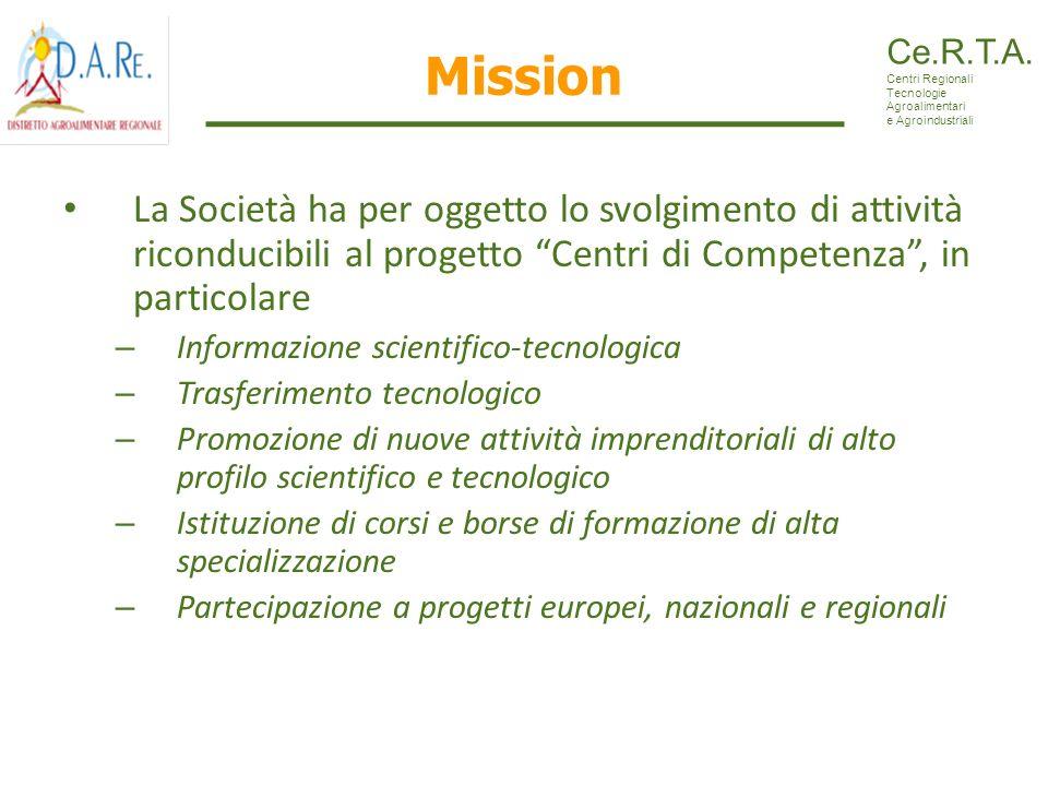 Mission La Società ha per oggetto lo svolgimento di attività riconducibili al progetto Centri di Competenza, in particolare – Informazione scientifico
