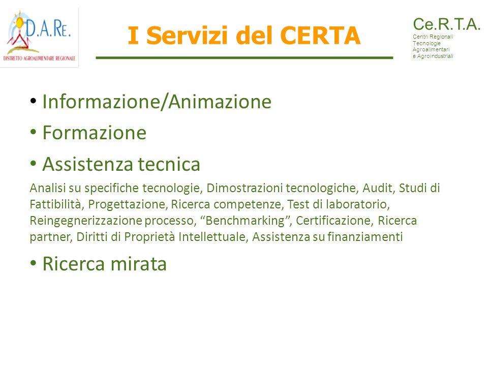 I Servizi del CERTA Informazione/Animazione Formazione Assistenza tecnica Analisi su specifiche tecnologie, Dimostrazioni tecnologiche, Audit, Studi d