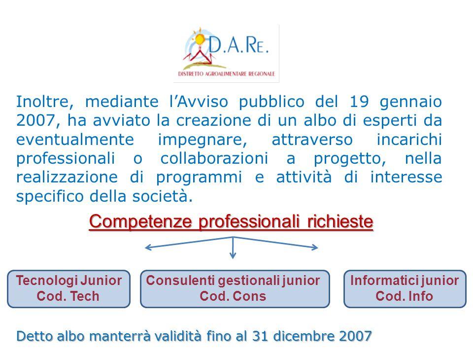 Inoltre, mediante lAvviso pubblico del 19 gennaio 2007, ha avviato la creazione di un albo di esperti da eventualmente impegnare, attraverso incarichi