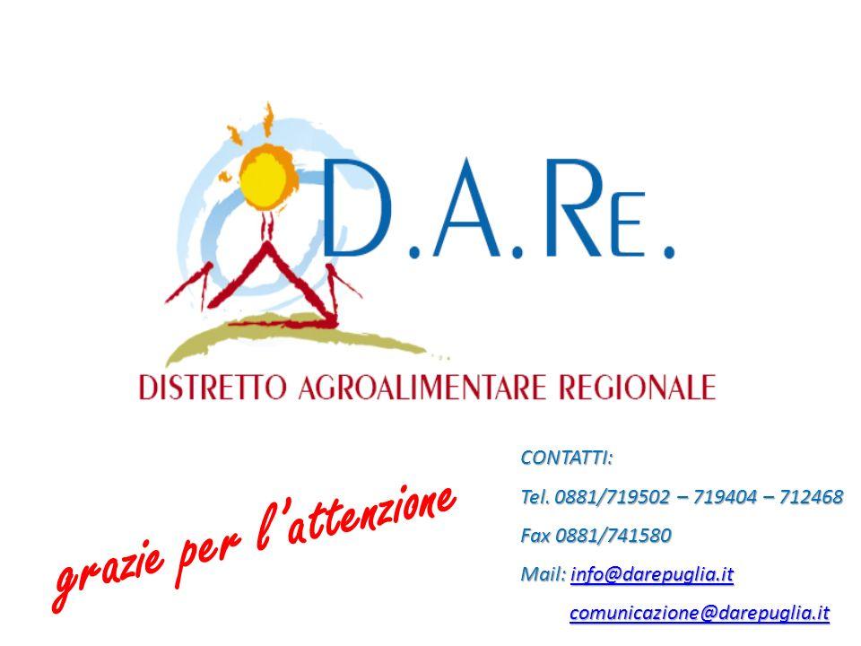 grazie per lattenzione CONTATTI: Tel. 0881/719502 – 719404 – 712468 Fax 0881/741580 Mail: info@darepuglia.it info@darepuglia.it comunicazione@darepugl