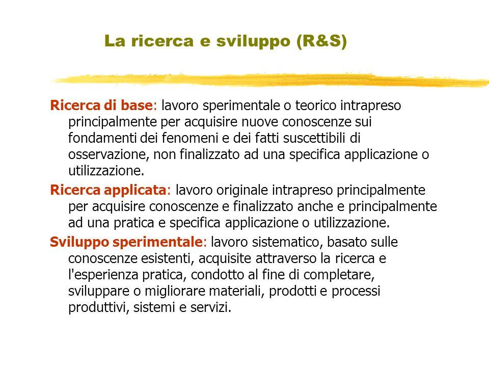 La ricerca e sviluppo (R&S) Ricerca di base: lavoro sperimentale o teorico intrapreso principalmente per acquisire nuove conoscenze sui fondamenti dei