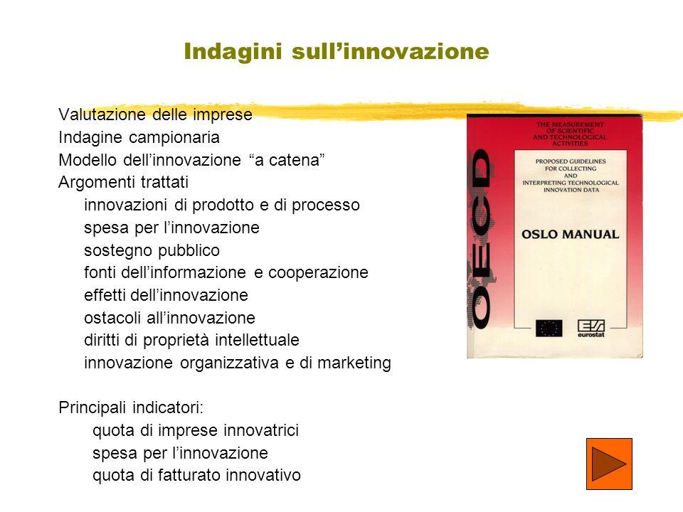 Valutazione delle imprese Indagine campionaria Modello dellinnovazione a catena Argomenti trattati innovazioni di prodotto e di processo spesa per lin