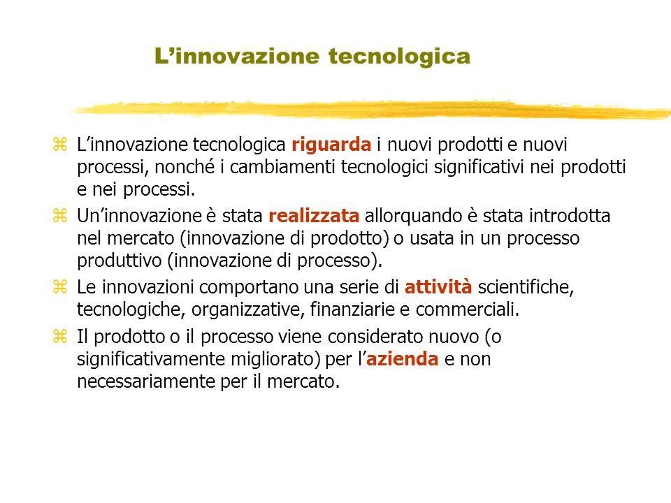 Linnovazione tecnologica zLinnovazione tecnologica riguarda i nuovi prodotti e nuovi processi, nonché i cambiamenti tecnologici significativi nei prod