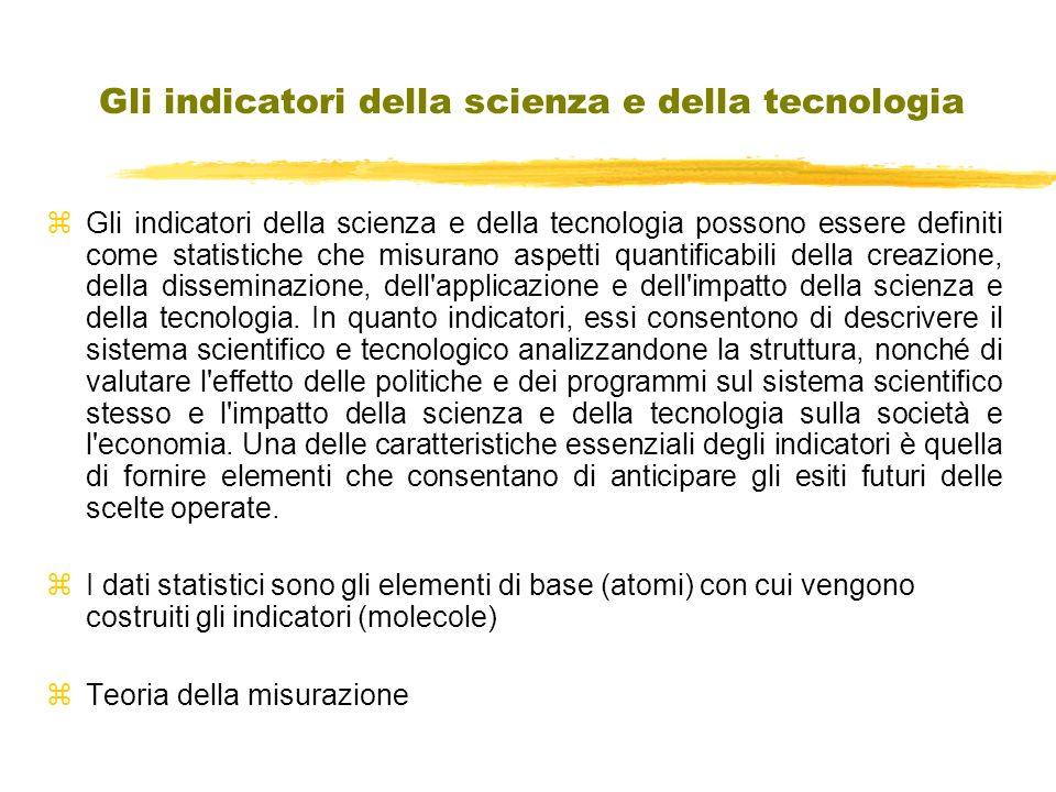 Gli indicatori della scienza e della tecnologia z Gli indicatori della scienza e della tecnologia possono essere definiti come statistiche che misurano aspetti quantificabili della creazione, della disseminazione, dell applicazione e dell impatto della scienza e della tecnologia.