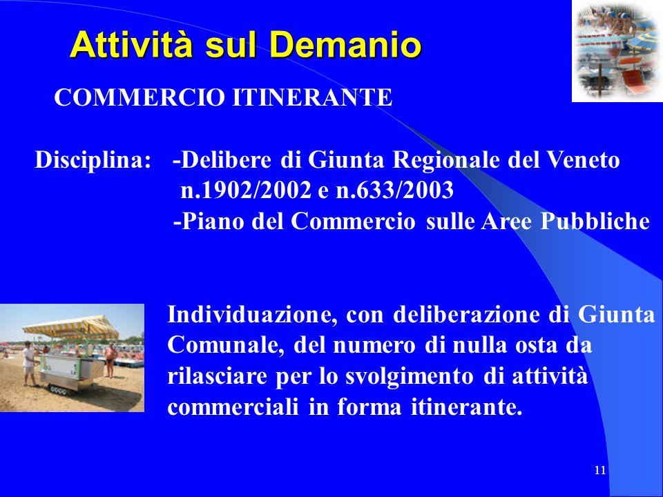 11 Attività sul Demanio Attività sul Demanio COMMERCIO ITINERANTE Disciplina: -Delibere di Giunta Regionale del Veneto n.1902/2002 e n.633/2003 -Piano