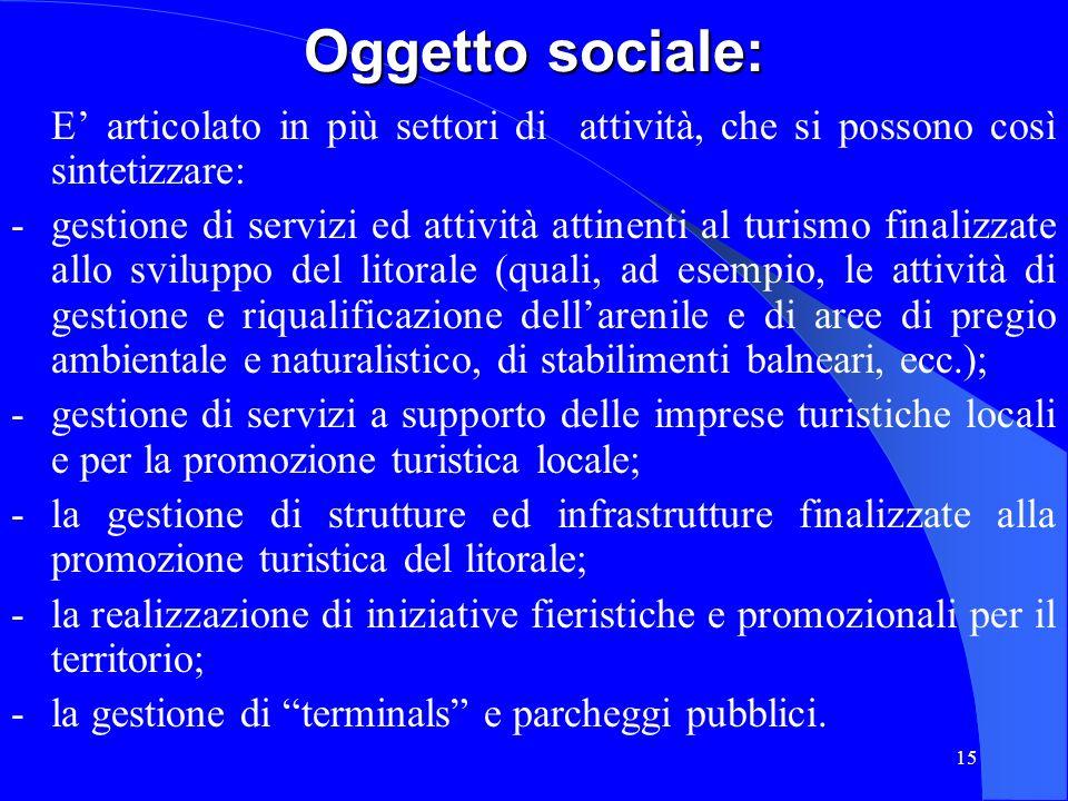 15 Oggetto sociale: E articolato in più settori di attività, che si possono così sintetizzare: - gestione di servizi ed attività attinenti al turismo