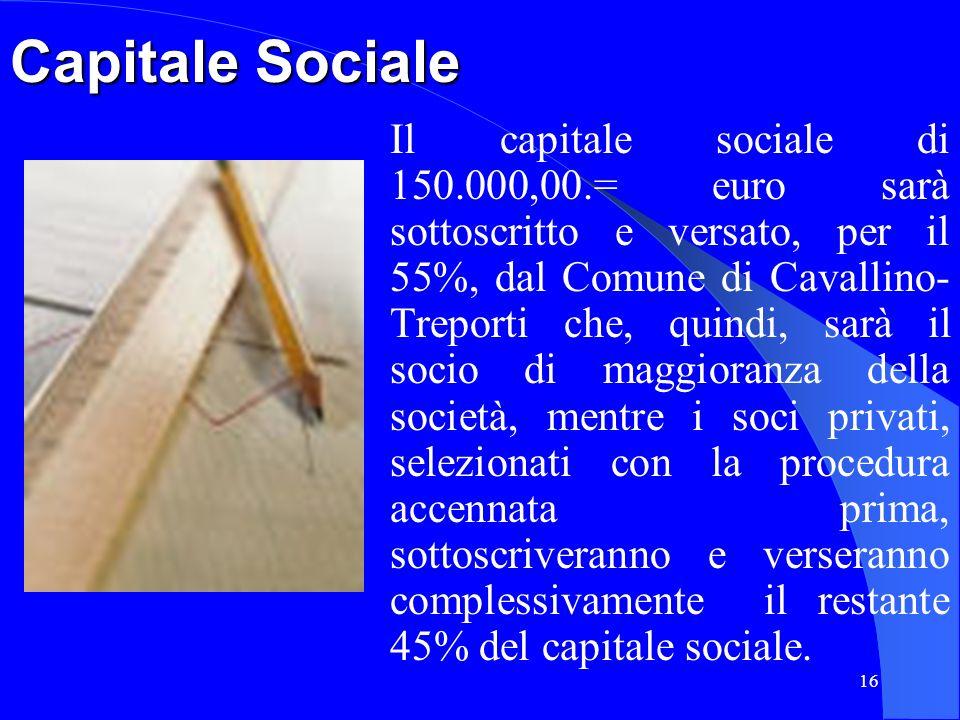 16 Capitale Sociale Il capitale sociale di 150.000,00.= euro sarà sottoscritto e versato, per il 55%, dal Comune di Cavallino- Treporti che, quindi, s