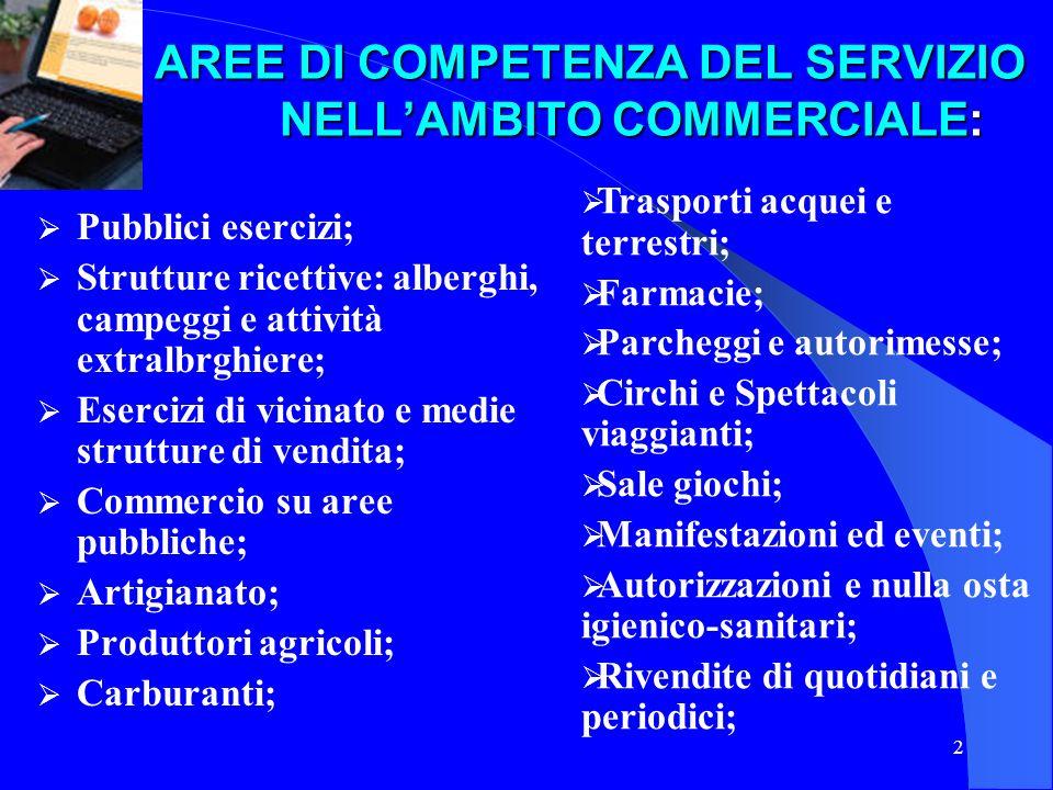 2 AREE DI COMPETENZA DEL SERVIZIO NELLAMBITO COMMERCIALE: AREE DI COMPETENZA DEL SERVIZIO NELLAMBITO COMMERCIALE: Pubblici esercizi; Strutture ricetti