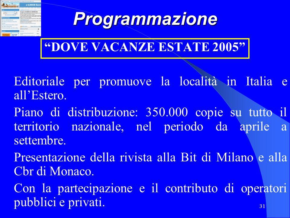 31Programmazione DOVE VACANZE ESTATE 2005 Editoriale per promuove la località in Italia e allEstero. Piano di distribuzione: 350.000 copie su tutto il