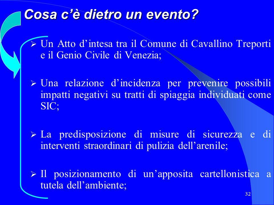 32 Cosa cè dietro un evento? Un Atto dintesa tra il Comune di Cavallino Treporti e il Genio Civile di Venezia; Una relazione dincidenza per prevenire