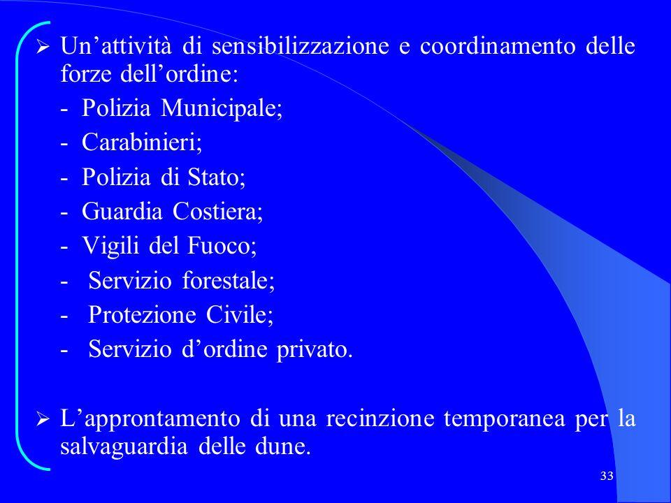 33 Unattività di sensibilizzazione e coordinamento delle forze dellordine: - Polizia Municipale; - Carabinieri; - Polizia di Stato; - Guardia Costiera