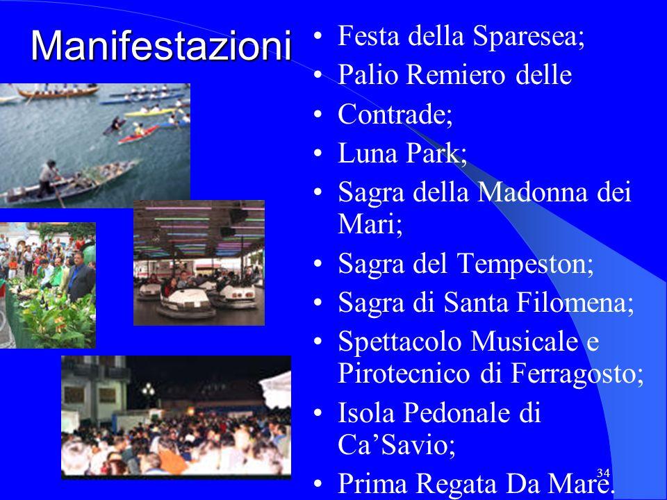 34 Manifestazioni Festa della Sparesea; Palio Remiero delle Contrade; Luna Park; Sagra della Madonna dei Mari; Sagra del Tempeston; Sagra di Santa Fil