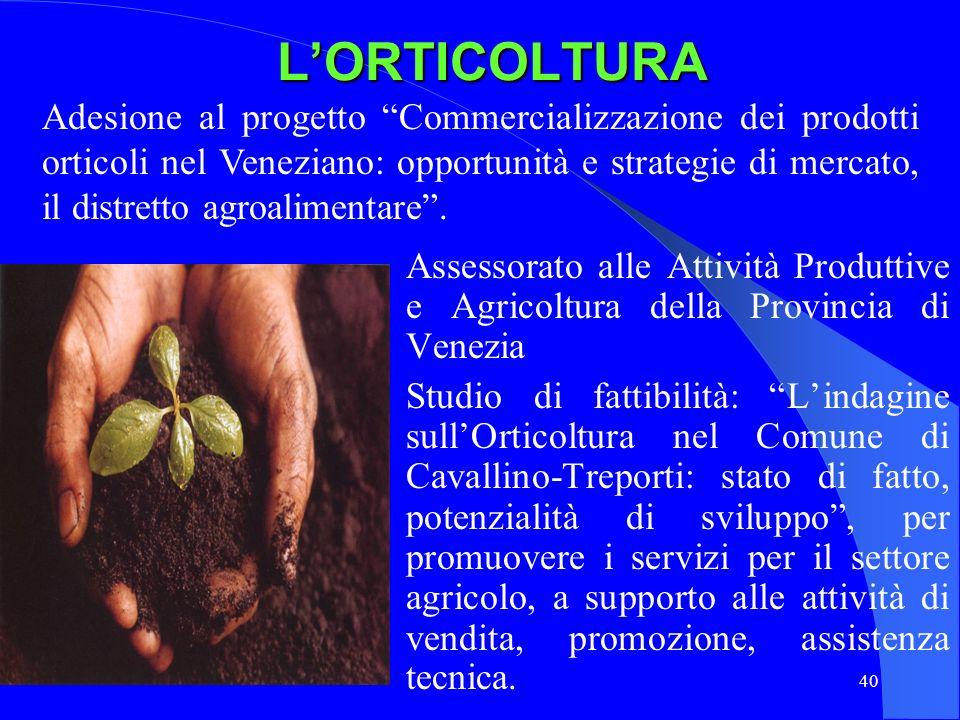 40LORTICOLTURA Assessorato alle Attività Produttive e Agricoltura della Provincia di Venezia Studio di fattibilità: Lindagine sullOrticoltura nel Comu