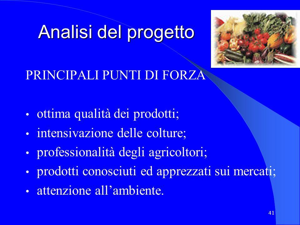 41 Analisi del progetto PRINCIPALI PUNTI DI FORZA ottima qualità dei prodotti; intensivazione delle colture; professionalità degli agricoltori; prodot