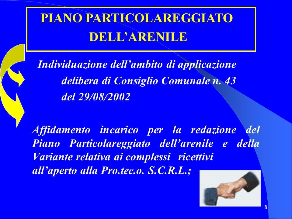 8 Individuazione dellambito di applicazione delibera di Consiglio Comunale n. 43 del 29/08/2002 Affidamento incarico per la redazione del Piano Partic