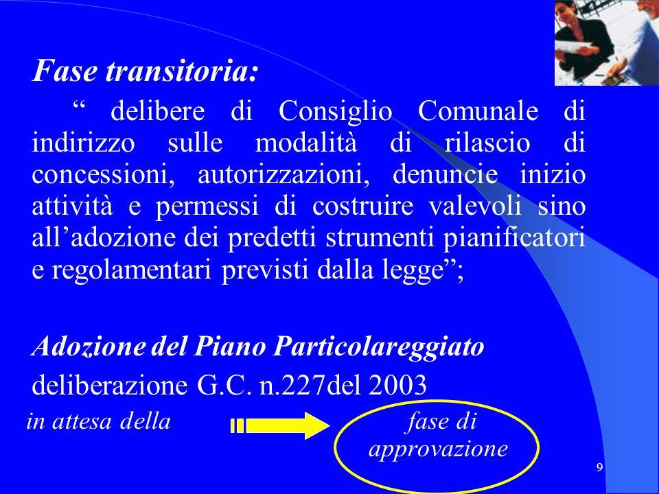9 Fase transitoria: delibere di Consiglio Comunale di indirizzo sulle modalità di rilascio di concessioni, autorizzazioni, denuncie inizio attività e