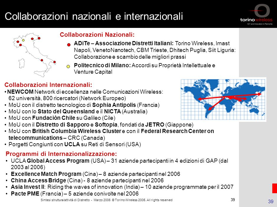 38 Sintesi struttura/attività di Distretto - Marzo 2006 © Torino Wireless 2005. All rights reserved 38 Agenda Il Distretto ICT piemontese La Fondazion