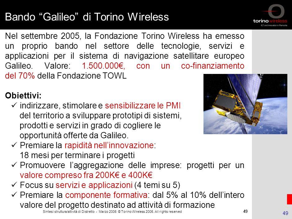 48 Sintesi struttura/attività di Distretto - Marzo 2006 © Torino Wireless 2005. All rights reserved 48 La filiera Galileo Un esempio di integrazione e