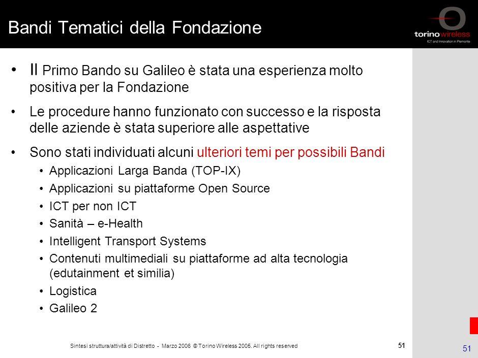 50 Sintesi struttura/attività di Distretto - Marzo 2006 © Torino Wireless 2005. All rights reserved 50 Bando Galileo: i progetti