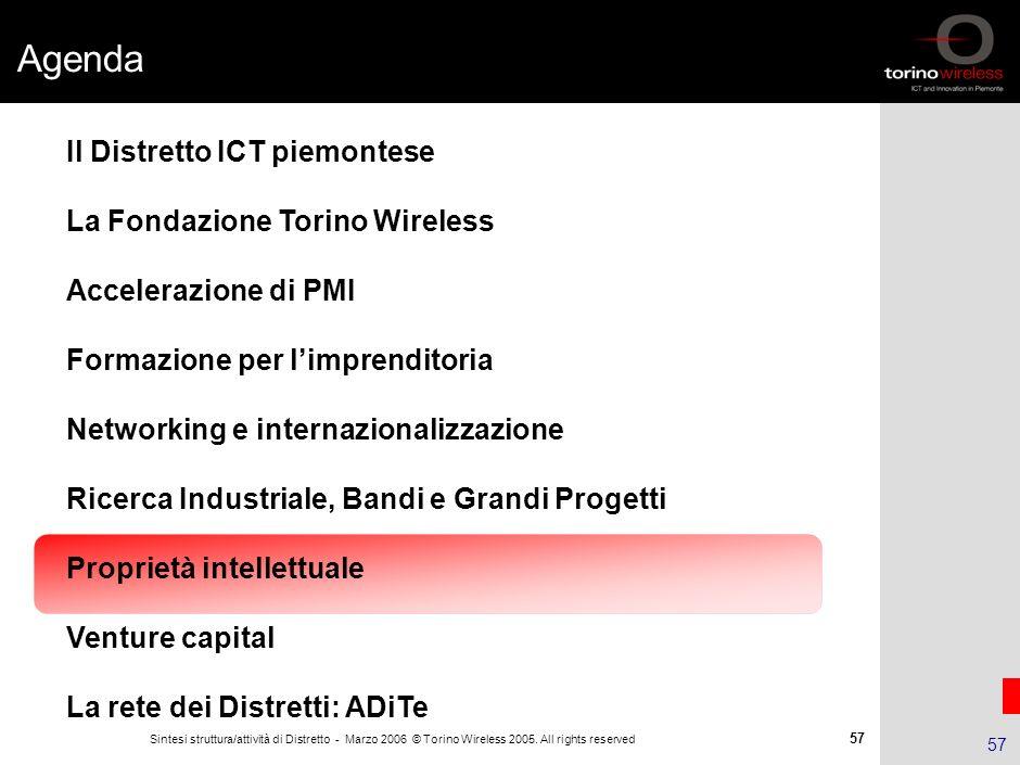 56 Sintesi struttura/attività di Distretto - Marzo 2006 © Torino Wireless 2005. All rights reserved 56 Macroprogetti: obiettivi quinquennio 2008-2012