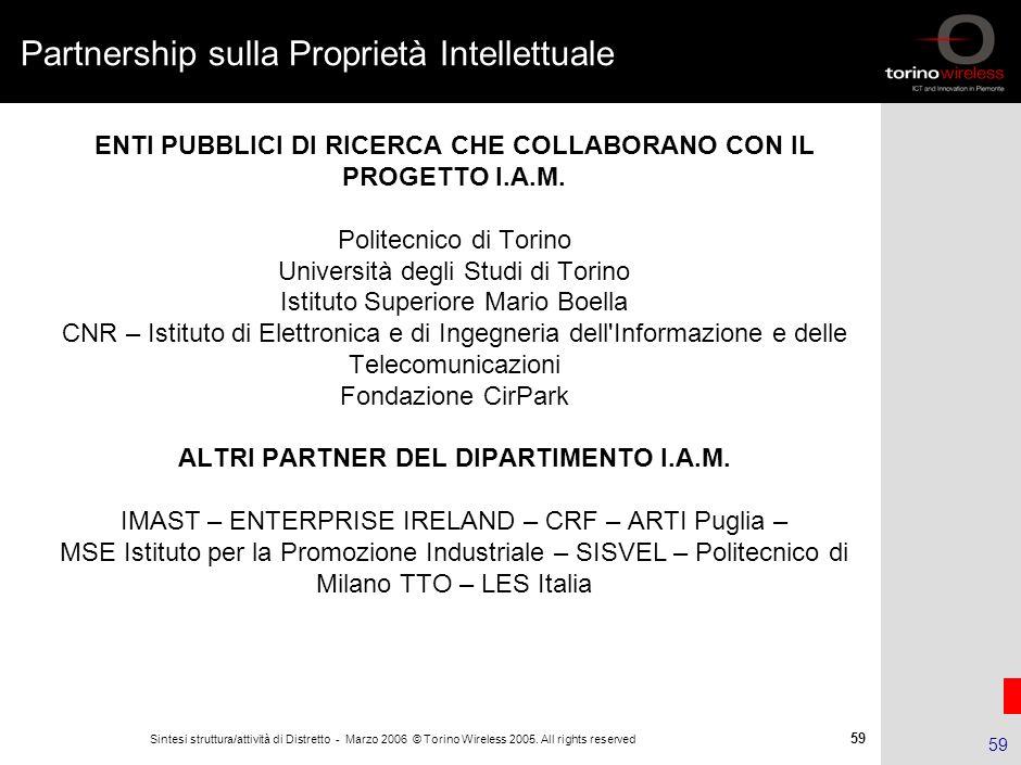 58 Sintesi struttura/attività di Distretto - Marzo 2006 © Torino Wireless 2005. All rights reserved 58 La gestione della proprietà intellettuale La ge