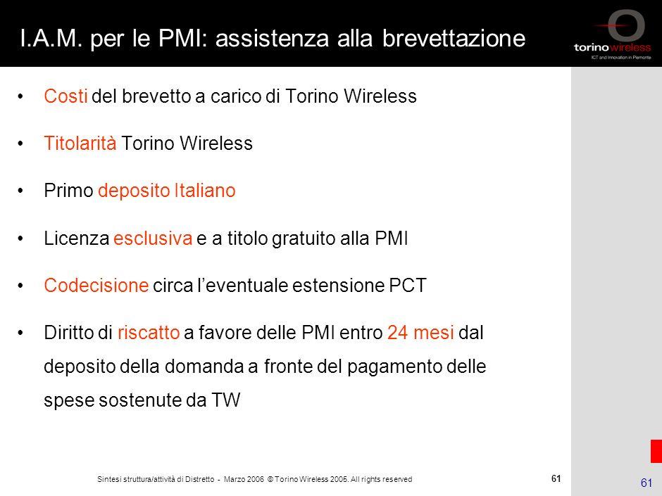 60 Sintesi struttura/attività di Distretto - Marzo 2006 © Torino Wireless 2005. All rights reserved 60 Attività correnti e risultati (fino al 31.12.06
