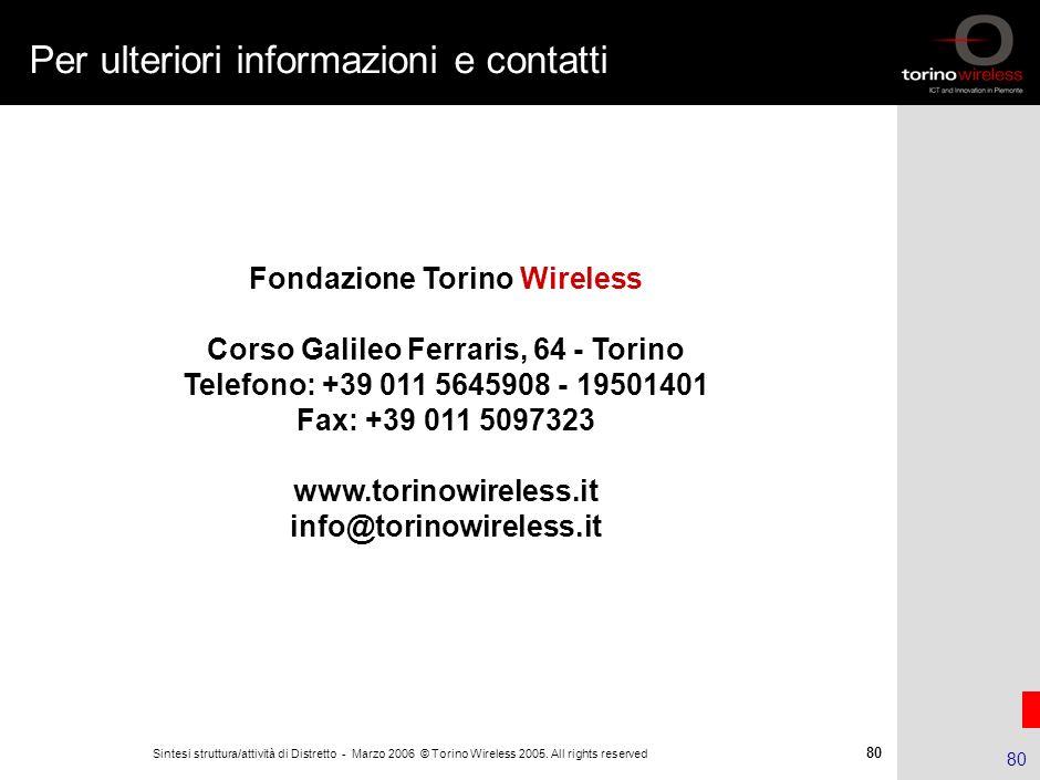 79 Sintesi struttura/attività di Distretto - Marzo 2006 © Torino Wireless 2005. All rights reserved 79 ADITE Ambiti di intervento: Rappresentare gli i