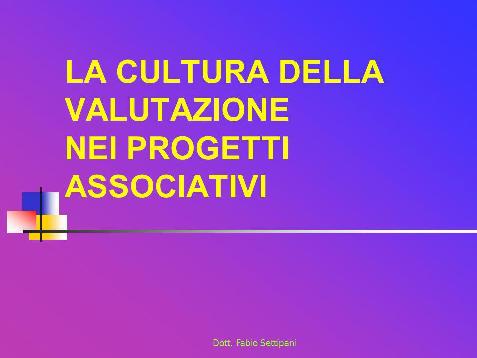 Dott. Fabio Settipani LA CULTURA DELLA VALUTAZIONE NEI PROGETTI ASSOCIATIVI