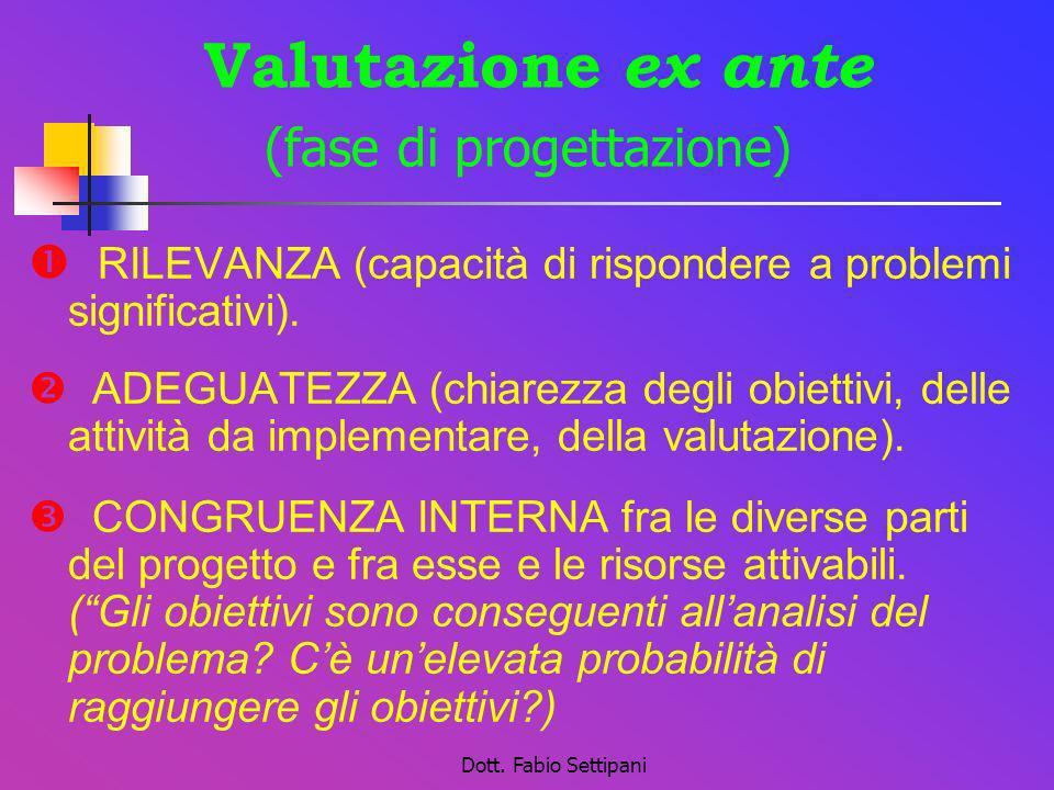 Dott. Fabio Settipani Valutazione ex ante (fase di progettazione) RILEVANZA (capacità di rispondere a problemi significativi). ADEGUATEZZA (chiarezza