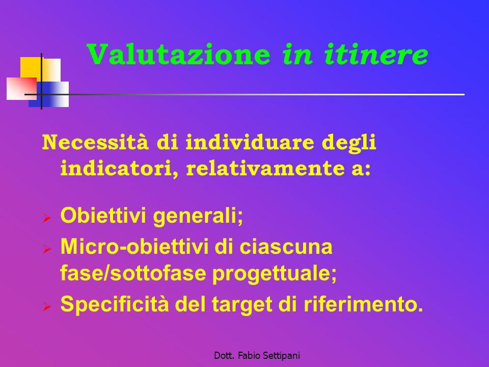 Dott. Fabio Settipani Valutazione in itinere Necessità di individuare degli indicatori, relativamente a: Obiettivi generali; Micro-obiettivi di ciascu