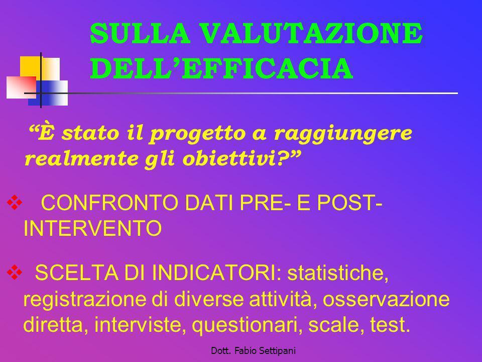Dott. Fabio Settipani SULLA VALUTAZIONE DELLEFFICACIA È stato il progetto a raggiungere realmente gli obiettivi? CONFRONTO DATI PRE- E POST- INTERVENT
