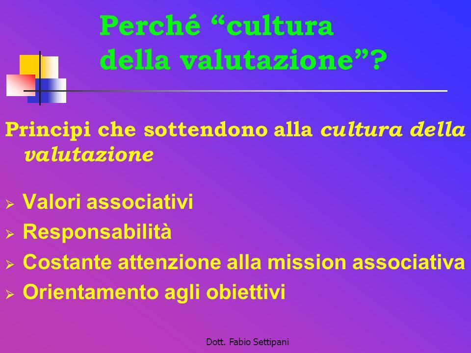 Dott. Fabio Settipani Perché cultura della valutazione? Principi che sottendono alla cultura della valutazione Valori associativi Responsabilità Costa