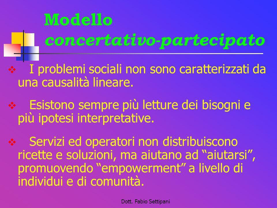 Dott. Fabio Settipani Modello concertativo-partecipato I problemi sociali non sono caratterizzati da una causalità lineare. Esistono sempre più lettur