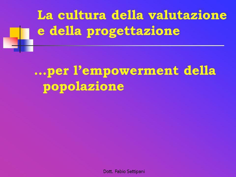 Dott. Fabio Settipani La cultura della valutazione e della progettazione …per lempowerment della popolazione