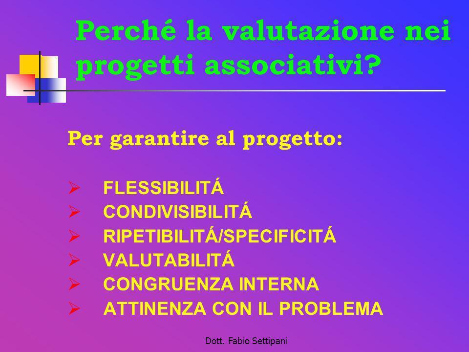Dott. Fabio Settipani Perché la valutazione nei progetti associativi? Per garantire al progetto: FLESSIBILITÁ CONDIVISIBILITÁ RIPETIBILITÁ/SPECIFICITÁ