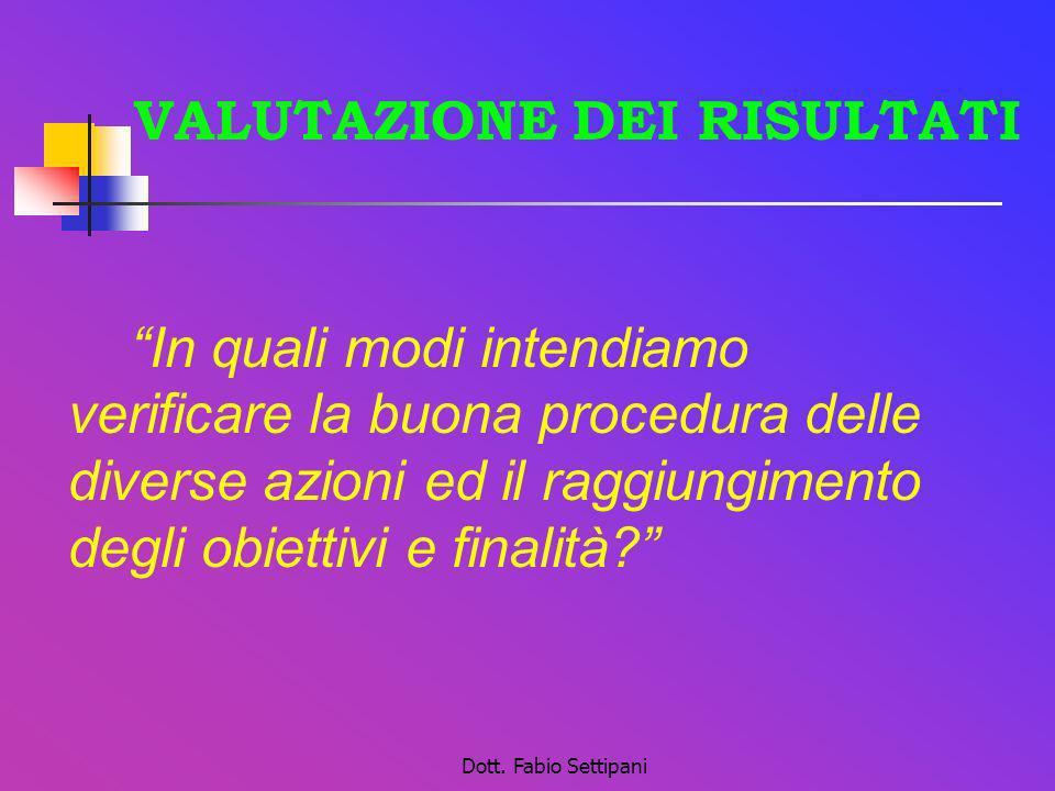 Dott. Fabio Settipani VALUTAZIONE DEI RISULTATI In quali modi intendiamo verificare la buona procedura delle diverse azioni ed il raggiungimento degli