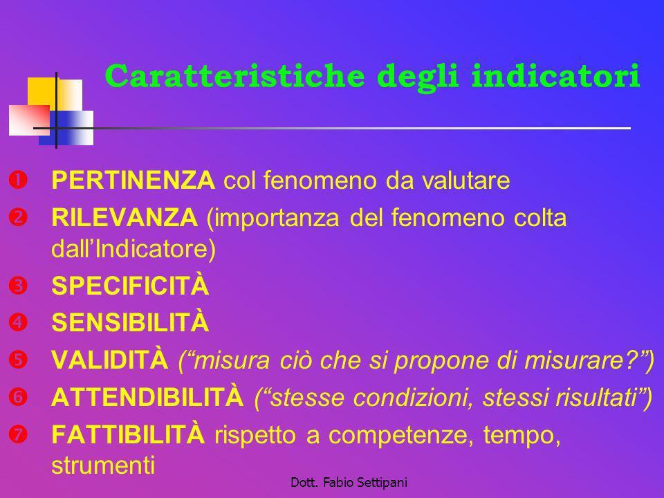 Dott. Fabio Settipani Caratteristiche degli indicatori PERTINENZA col fenomeno da valutare RILEVANZA (importanza del fenomeno colta dallIndicatore) SP