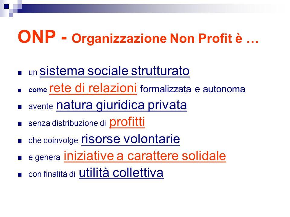 ONP - Organizzazione Non Profit è … un sistema sociale strutturato come rete di relazioni formalizzata e autonoma avente natura giuridica privata senza distribuzione di profitti che coinvolge risorse volontarie e genera iniziative a carattere solidale con finalità di utilità collettiva