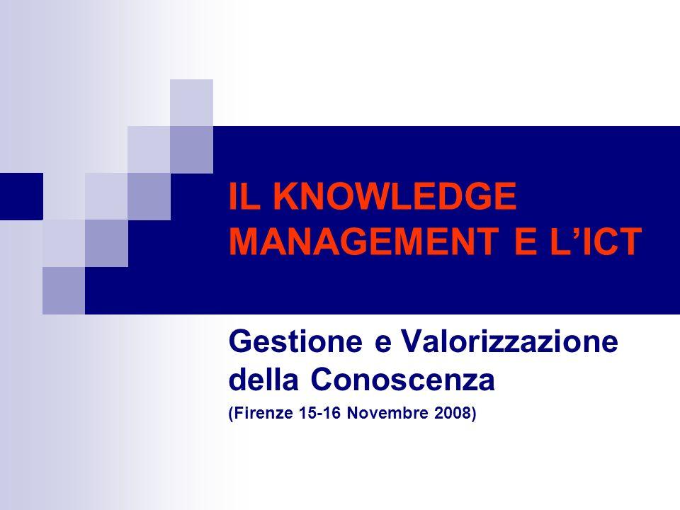 IL KNOWLEDGE MANAGEMENT E LICT Gestione e Valorizzazione della Conoscenza (Firenze 15-16 Novembre 2008)