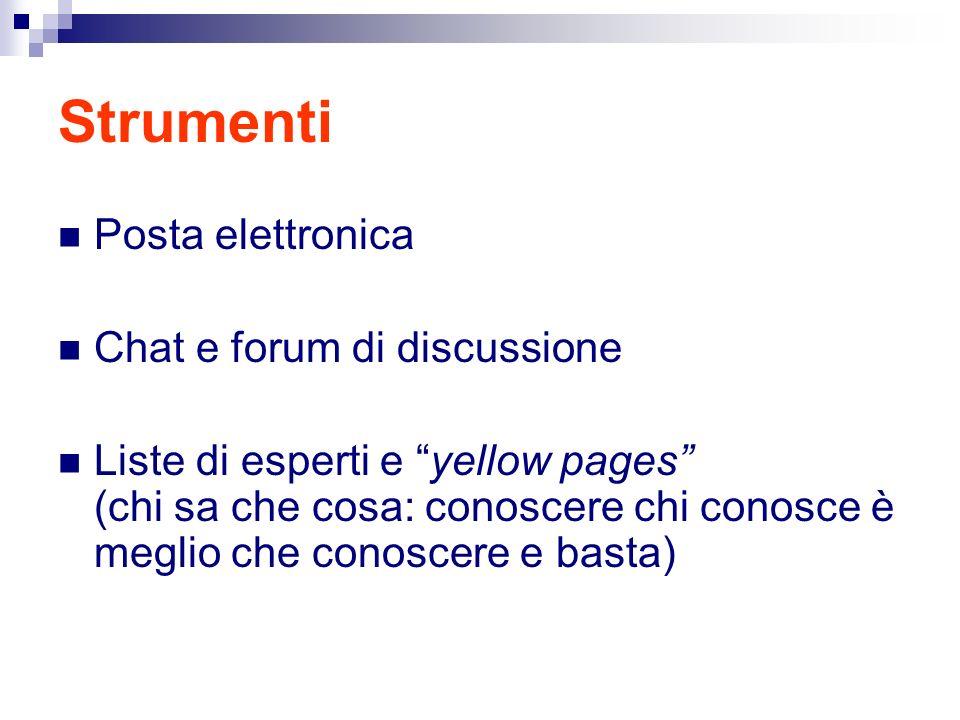 Strumenti Posta elettronica Chat e forum di discussione Liste di esperti e yellow pages (chi sa che cosa: conoscere chi conosce è meglio che conoscere e basta)
