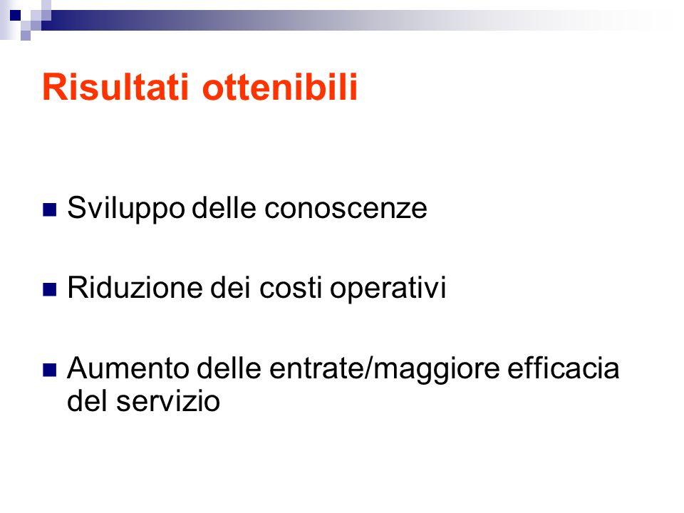 Risultati ottenibili Sviluppo delle conoscenze Riduzione dei costi operativi Aumento delle entrate/maggiore efficacia del servizio