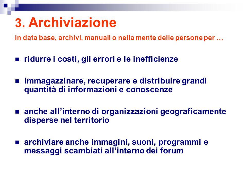 3. Archiviazione in data base, archivi, manuali o nella mente delle persone per … ridurre i costi, gli errori e le inefficienze immagazzinare, recuper