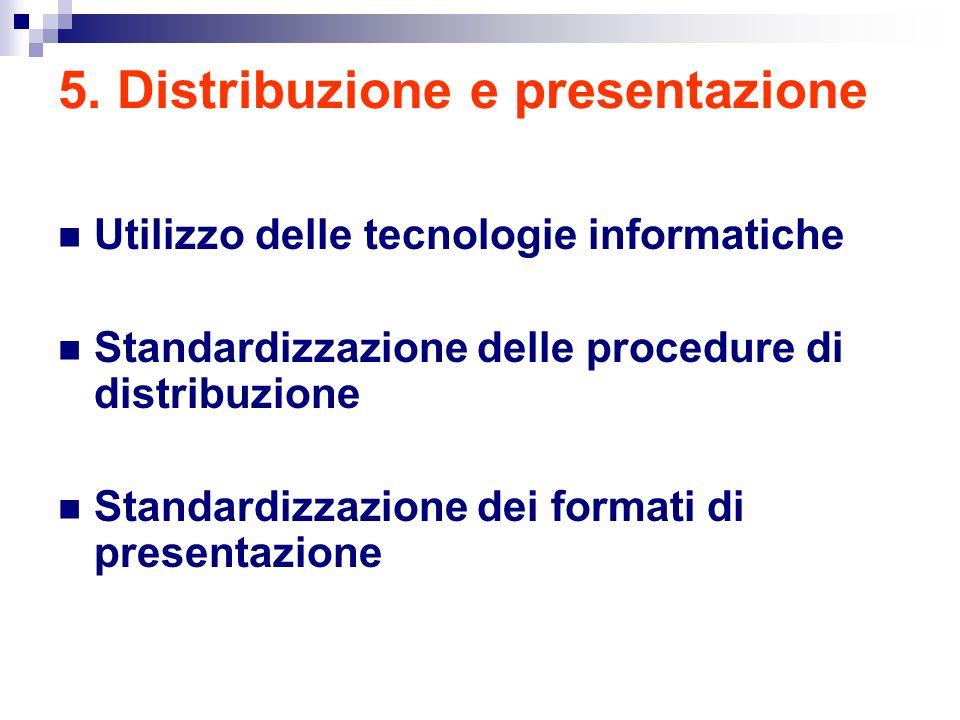 5. Distribuzione e presentazione Utilizzo delle tecnologie informatiche Standardizzazione delle procedure di distribuzione Standardizzazione dei forma