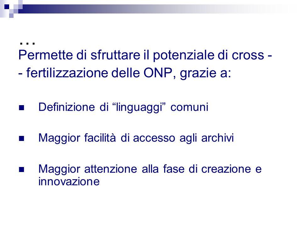 … Permette di sfruttare il potenziale di cross - - fertilizzazione delle ONP, grazie a: Definizione di linguaggi comuni Maggior facilità di accesso agli archivi Maggior attenzione alla fase di creazione e innovazione