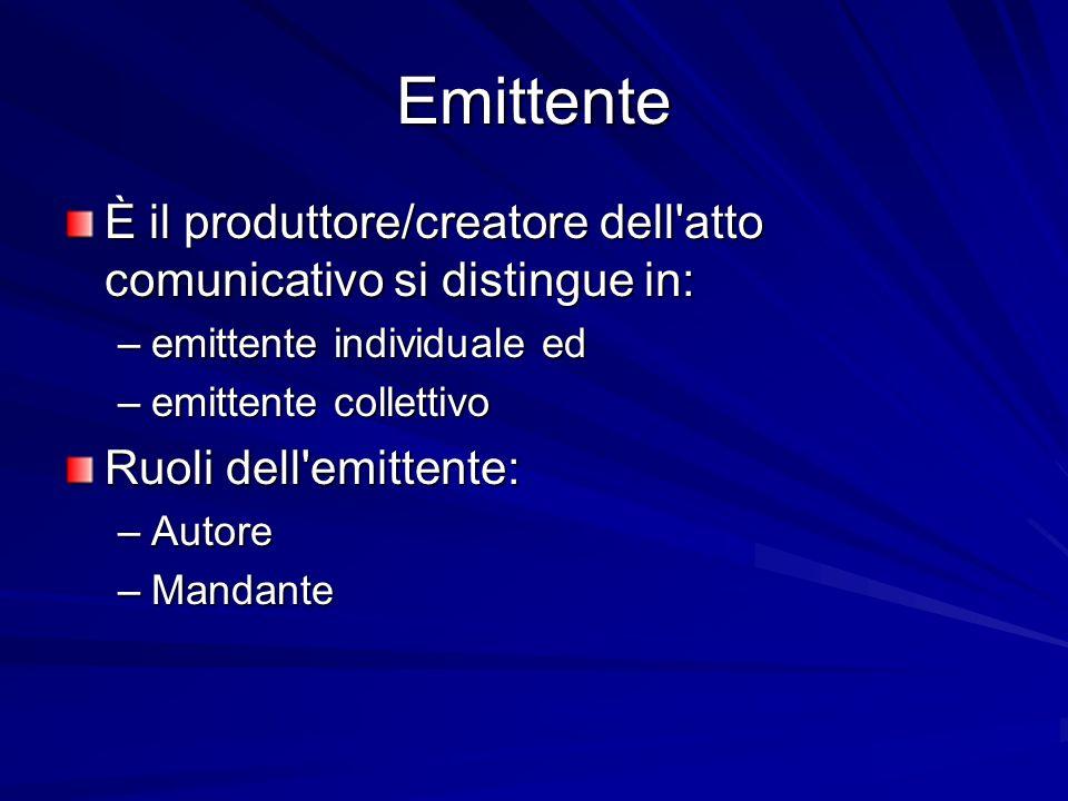 Emittente È il produttore/creatore dell atto comunicativo si distingue in: –emittente individuale ed –emittente collettivo Ruoli dell emittente: –Autore –Mandante