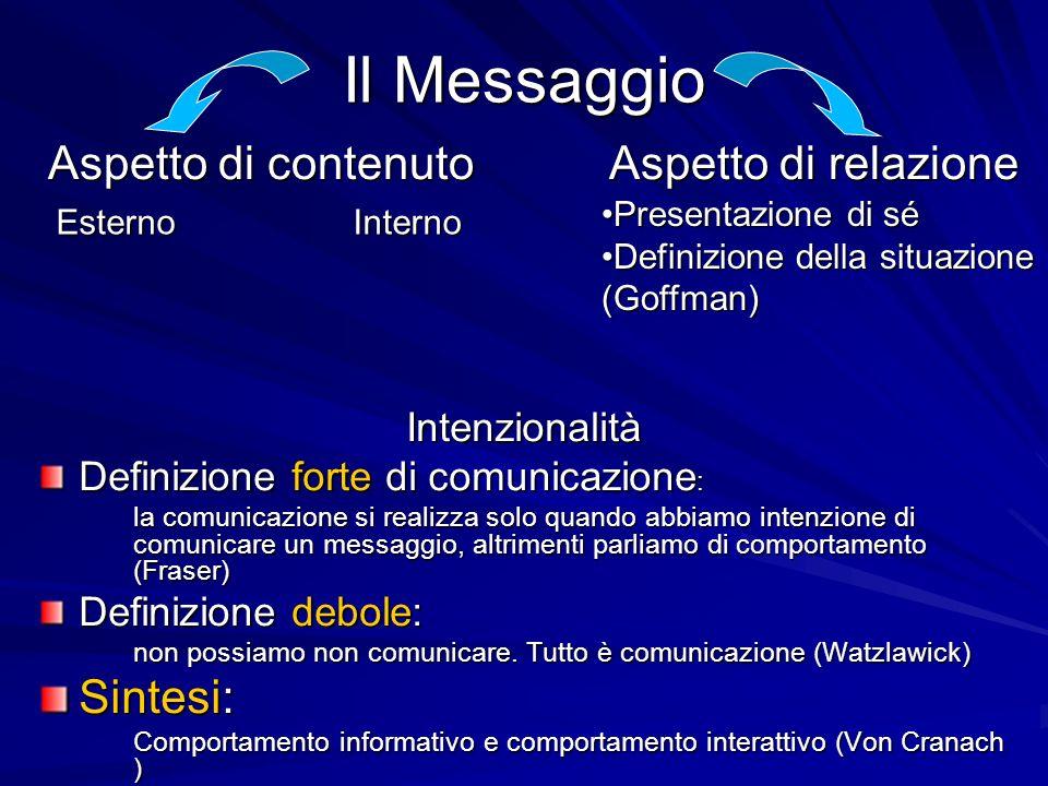 Il Messaggio Intenzionalità Definizione forte di comunicazione : la comunicazione si realizza solo quando abbiamo intenzione di comunicare un messaggio, altrimenti parliamo di comportamento (Fraser) Definizione debole: non possiamo non comunicare.